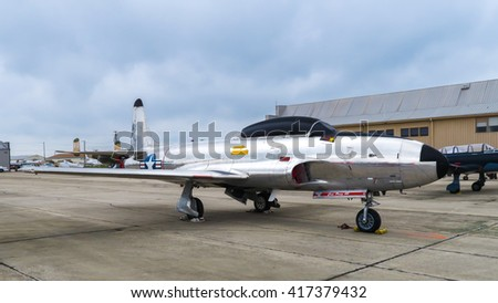 SAN MARCOS, TEXAS - APRIL 16 2016: a Lockheed P-80 Shooting Star jet fighter designed and built in 1943