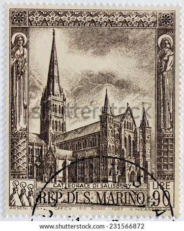 SAN MARINO - CIRCA 1967: A stamp printed SAN MARINO shows the Salisbury Cathedral formally known as Cathedral Church of Blessed Virgin Mary - an Anglican cathedral in Salisbury, England, circa 1967
