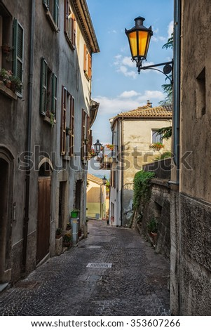 SAN - MARINO, ITALY - JUNE 22, 2014: Beautiful little streets of San - Marino waiting for tourists.
