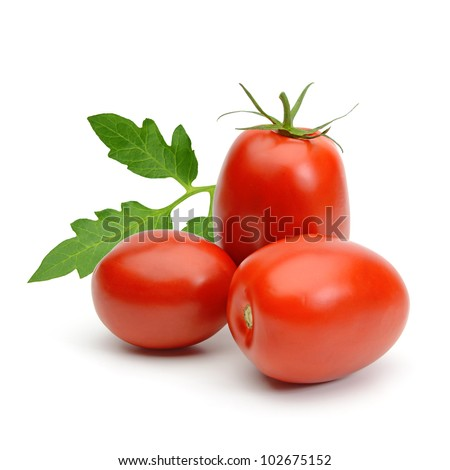 San marzano plum tomatoes with leaves on white background - stock photo