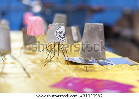 SAN MATEO, CA May 20 2016 - A craft project at the 11th annual Bay Area Maker Faire at the San Mateo County Event Center. - stock photo