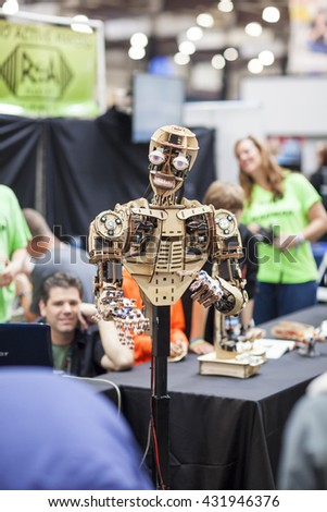 SAN MATEO, CA May 20 2016 - The uncanny Roy the Robot during the 11th annual Bay Area Maker Faire at the San Mateo County Event Center. - stock photo