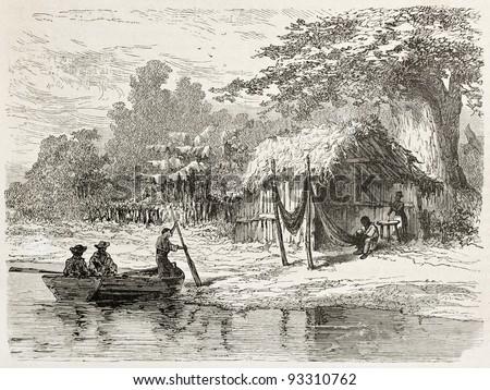 San Mathias Tapera old view, Brazil. Created by Riou, published on Le Tour du Monde, Paris, 1867 - stock photo