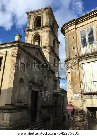 San Michele church Vibo Valentia, Calabria, Italy. 23/12/2016. Street view of an old medieval church in South Italy