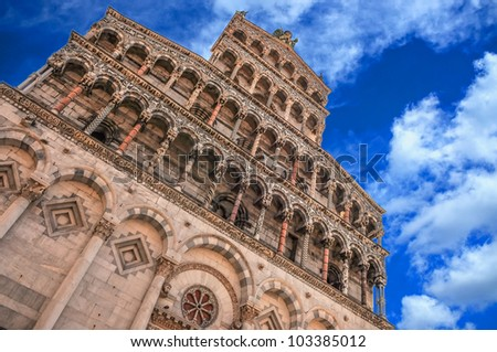 San Michele in Foro cathedral, Lucca - stock photo