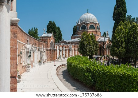 San Michele in Isola on the cemetery island of San Michele, Venice, Italy - stock photo