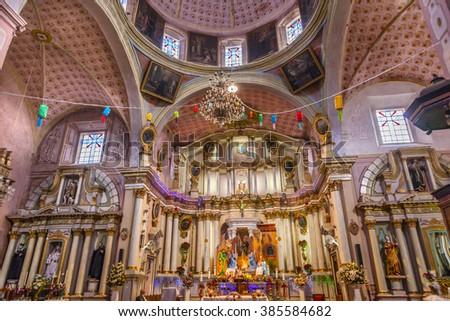 SAN MIGUEL DE ALLENDE, MEXICO - DECEMBER 27, 2014 Basilica Dome Templo Del Oratorio De San Felipe Neri Church Facade San Miguel de Allende, Mexico. Built in 1700s    - stock photo