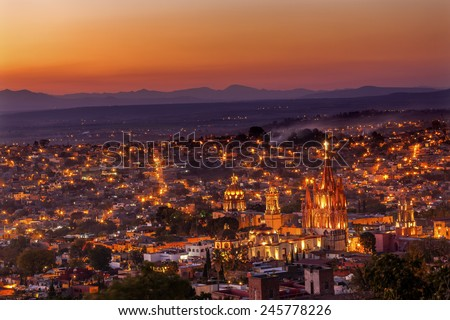San Miguel de Allende, Mexico, Overlook Parroquia Archangel Church Close Up, Churches Houses and No Trademarks - stock photo