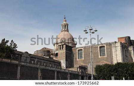 San Nicolo l'Arena , ancient incomplete church in Catania, Italy