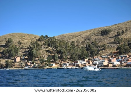 SAN PABLO, BOLIVIA - SEPTEMBER 4, 2010: Town of San Pablo on lake Titicaca, where is the ferry to San Pedro. Titicaca, the highest largest fresh water lake in South America.