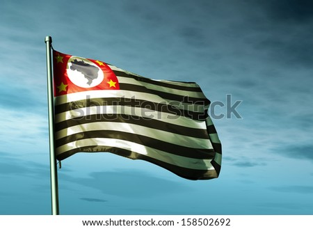 San Paulo (Brazil) flag waving in the evening - stock photo
