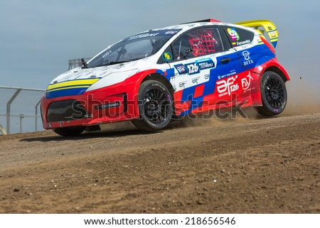 SAN PEDRO, CA - SEP 20: Alejandro Fernandez rally driver at the Red Bull GRC Global Ralleycross in San Pedro, CA on September 20, 2014