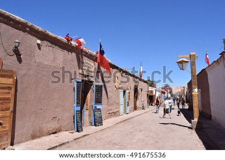 San Pedro de Atacama Chile - October 1 2016 - Street view of San Pedro de Atacama, famous for beautiful star light