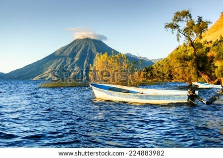 San Pedro Volcano (Volcan San Pedro) across Lake Atitlan (Lago de Atitlan) in Guatemalan highlands - stock photo