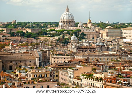 San Peter square on a cloudy day, Rome, Italy. - stock photo