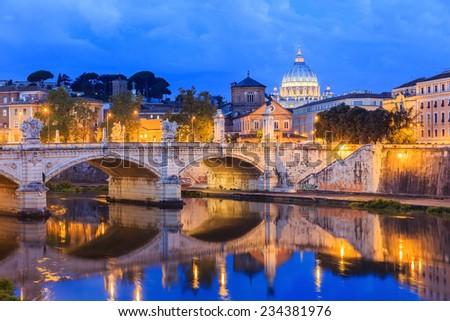 San Pietro basilica and Ponte Vittorio Emanuele  Rome, Italy - stock photo
