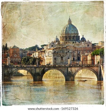 San Pietro basilica. Rome. retro styled picture  - stock photo