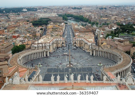 San Pietro square seen from top of Saint Peter Basilica in Vatican.