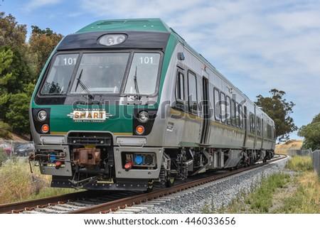 San Rafael, California  June 10, 2016 : SMART (Sonoma Marin Area  Rail Transit) train testing of new cars on new rails on June 10, 2016. - stock photo