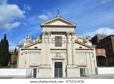 San Rocco all'Augusteo (Saint Roch) neoclassical facade with angels, in the center of Rome