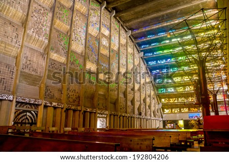 San Salvador, El Salvador - May-04-2014: Interior of the Rosario church famous stained glass windows - stock photo