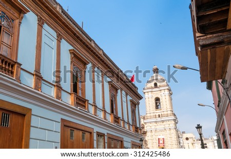 San San francisco church view of Lima Peru, south america - stock photo
