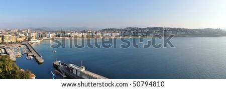 San Sebastian Bay and Harbor, La Concha Panorama - stock photo