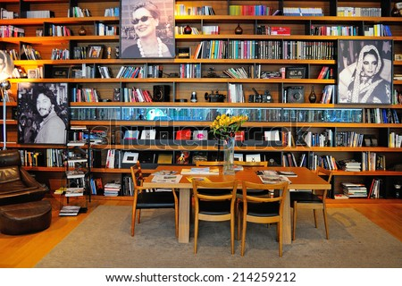 SAN SEBASTIAN, SPAIN - AUG 10: Library of the famous Astoria 7 Hotel, dedicated to the stars of Hollywood, on August 10, 2014 in San Sebastian, Spain. - stock photo