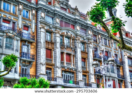 SAN SEBASTIAN - SPAIN - details of the historic monuments with typical building in the city center - stock photo