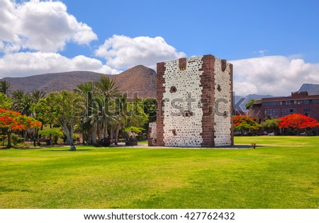 SAN SEBASTIAN, SPAIN - JULY 15: Built in 1447-1450 near the port of San Sebastian in late Gothic style the Torre del Conde on July 15, 2014. - stock photo