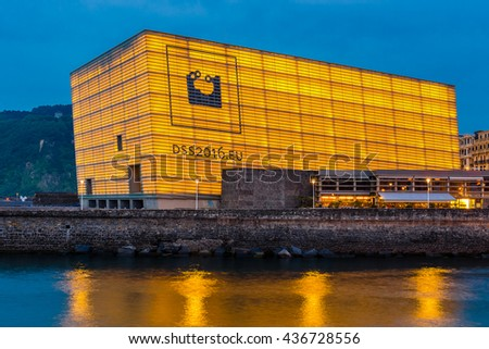 SAN SEBASTIAN, SPAIN - JUNE 9: Kursaal Convention Center and Auditorium on June 9, 2016 in San Sebastian, Spain. - stock photo