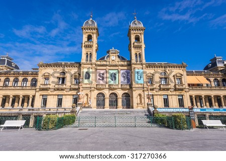 SAN SEBASTIAN, SPAIN - SEP 7: City Hall of Donostia on September 7, 2015 in San Sebastian, Spain. - stock photo