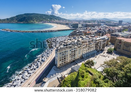 SAN SEBASTIAN, SPAIN - SEP 7: Old town of San Sebastian from Monte Urgull on September 7, 2015 in San Sebastian, Spain. - stock photo