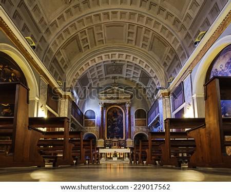 San Sebastiano al Palatino church interior in Rome central view - stock photo