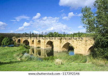 San Vicente Bridge Sonsierra in the middle of nature on a sunny day in La Rioja, Spain - stock photo
