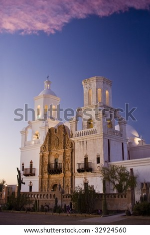 San Xavier Mission at dusk - stock photo