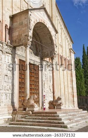 San Zeno Maggiore basilica front facade (frontispiece) front church porch summer in Verona, Italy - stock photo