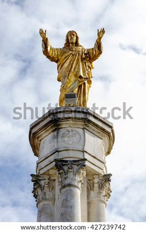 Sanctuary of Fatima, Portugal. Sacred Heart of Jesus Monument. Fatima is one of the most important pilgrimage locations for the Catholics in the world - stock photo
