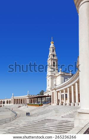 Sanctuary of Fatima, Portugal. Sanctuary of Fatima. Basilica of Nossa Senhora do Rosario and the colonnade. One of the most important Marian Shrines and pilgrimage locations for the Catholics - stock photo