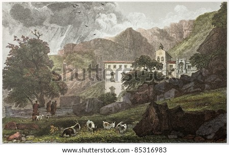 Sanctuary of Santa Rosalia old view, near palermo, Sicily. Created by De Wint and Hearth, printed by McQueen, publ. in London, 1821. Ed. on Sicilian Scenery, Rodwell and Martins, London, 1823 - stock photo