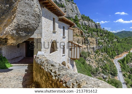 Sanctuary of the Virgin of Balma built in rock in the mountains in Castellon de la Plana, Spain - stock photo