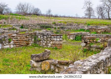 Sanctuary of Zeus Hypsistos, Dion Archeological Site in Greece - stock photo