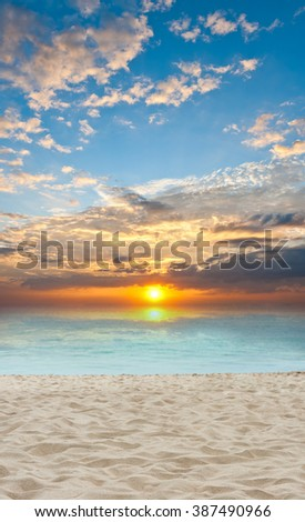 sand and beach with sunset