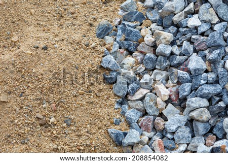 Sand and stone for construction work  - stock photo