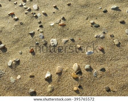Sand and stones on the beach