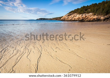 Sand beach, Acadia National Park, Maine, USA - stock photo