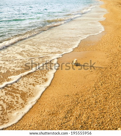 Sand beach and wave. Nature composition. - stock photo