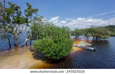 Sand beach in Rio Negro, Amazon, Brazil - stock photo