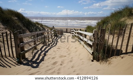Sand beach of Formby near Liverpool, the North West Coast of England