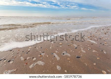 sand beach on North sea, Zandvoort aan Zee, North Holland - stock photo